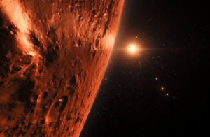 Artist's impression of view from planet in the TRAPPIST-1 plan
